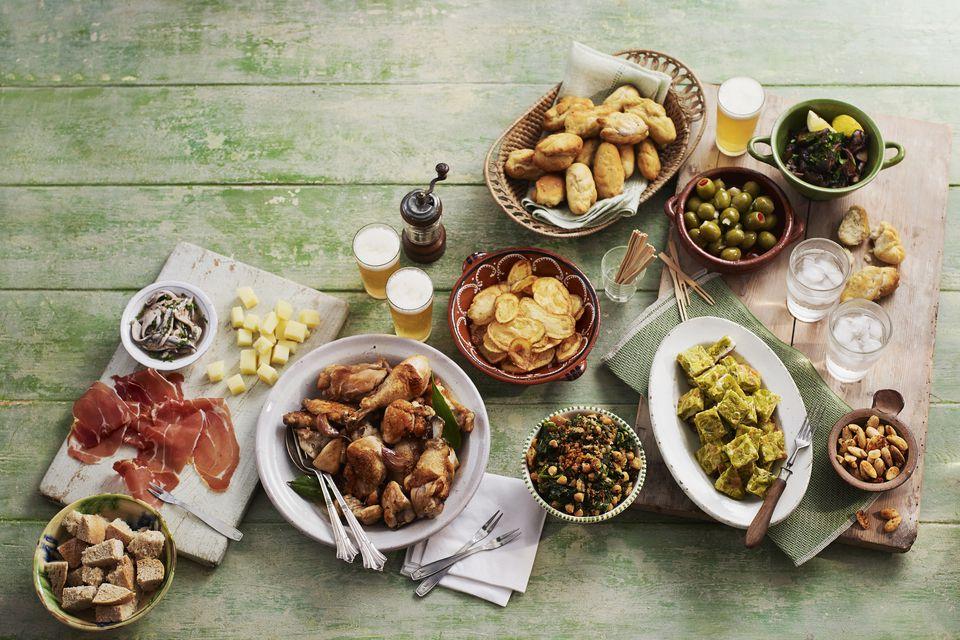 A variety of Spanish tapas