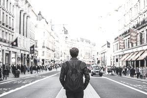 International tourist admiring the city