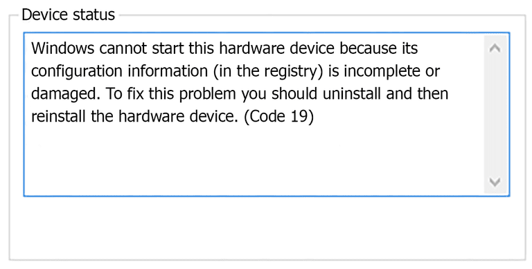 Screenshot of the Code 19 Device Manage error that reads that Windows cannot start this hardware device