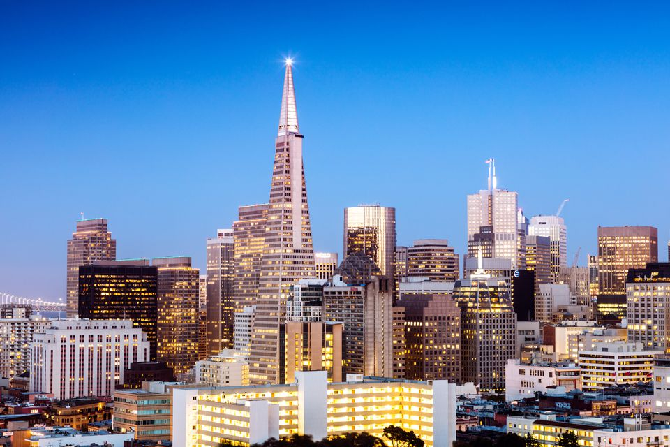 Downtown skyline at dusk, San Francisco, USA