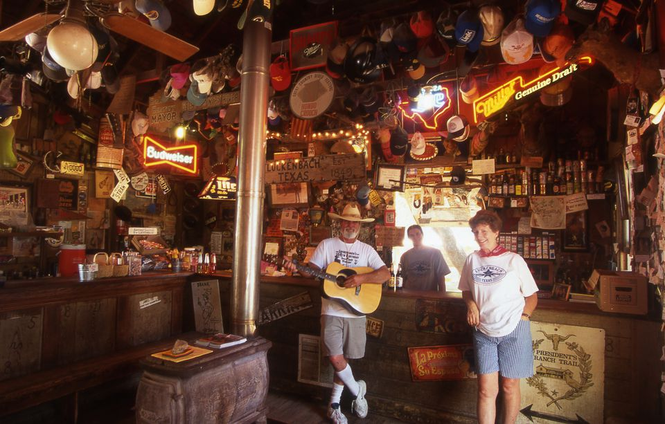 People hanging out in the general store in Luckenbach, Texas