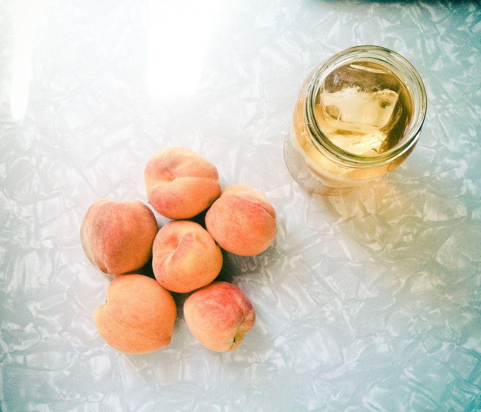 Fresh peaches and iced tea