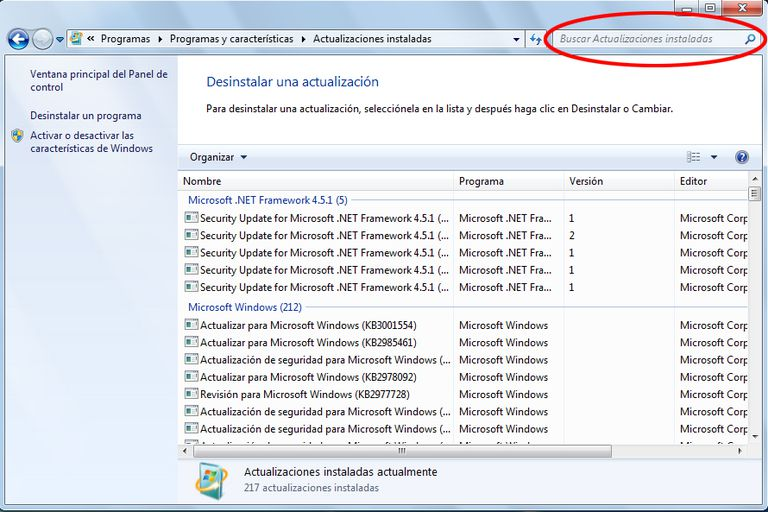 Quitar Actualizaciones Windows 7