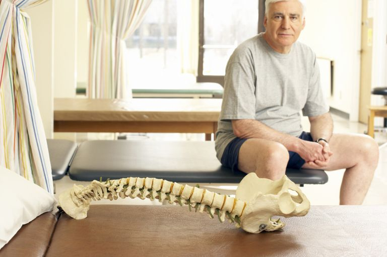 Photo of a man with a spine model.