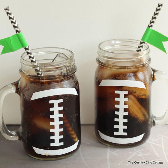 DIY Football Mason Jar Cups
