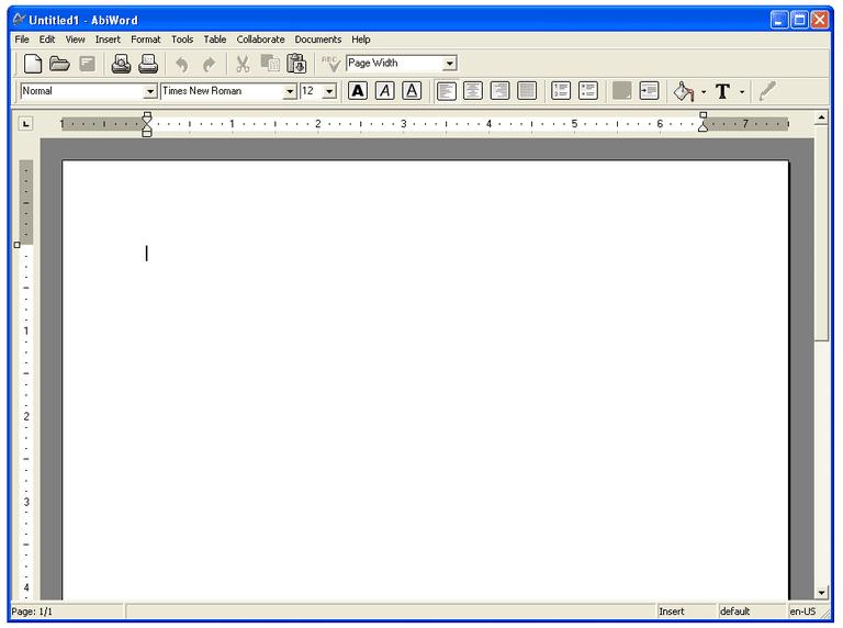 Screenshot of AbiWord in Windows XP