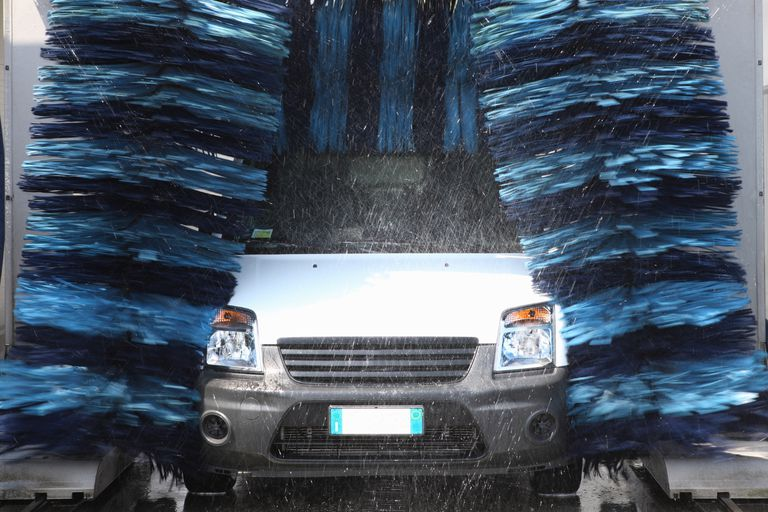 car coming out of an automatic car wash