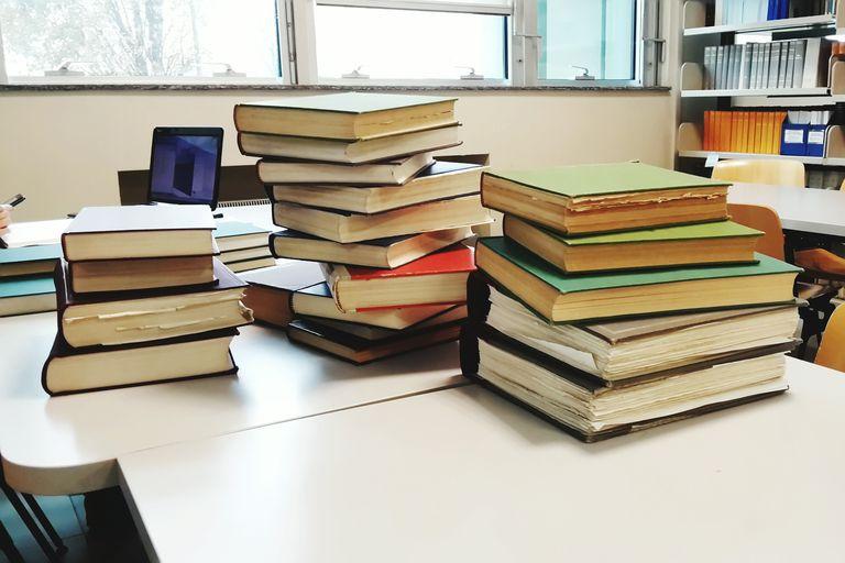 Textbooks on a tabl