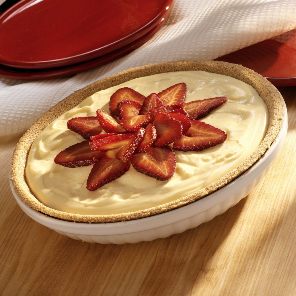 Creamy Orange Tang Pie with Strawberry Garnish