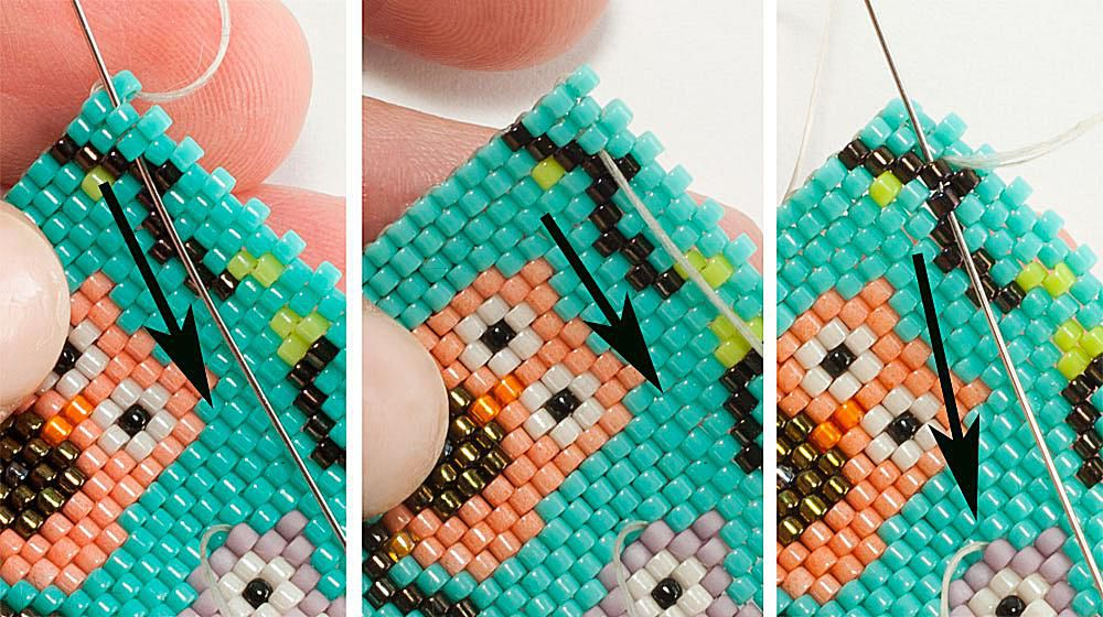 Weaving In Beading Thread With Peyote Stitch