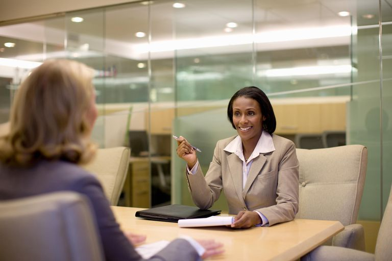 Businesswoman conducting a job interview