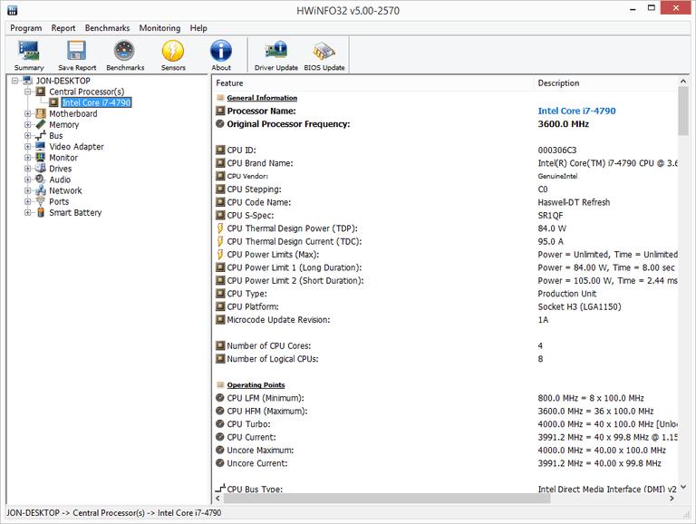 Screenshot of HWiNFO32 v5.00 in Windows 8