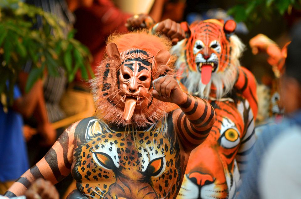 The tiger dance festival, Trissur, Kerala