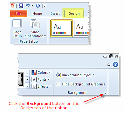 Access PowerPoint backgrounds using the Design tab of the ribbon