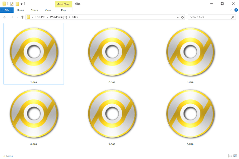 Screenshot of several DAA files in Windows 10 that open with PowerISO