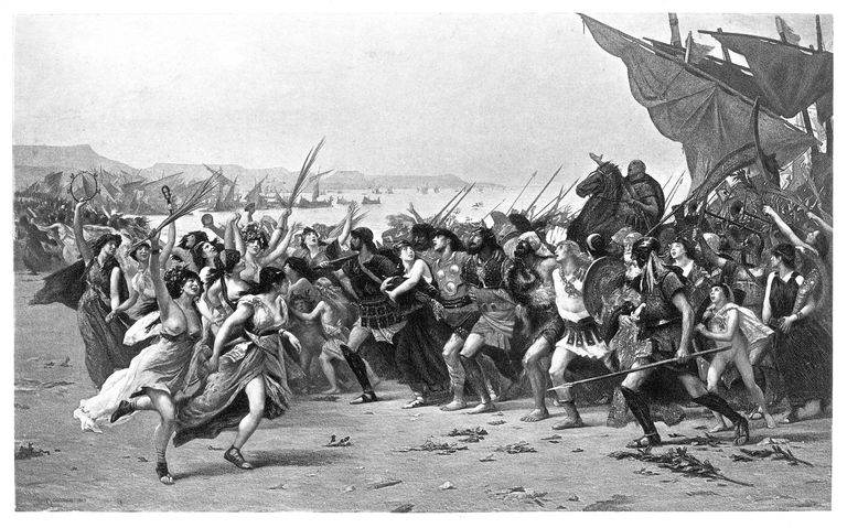 The Battle of Salamis engraving 1894