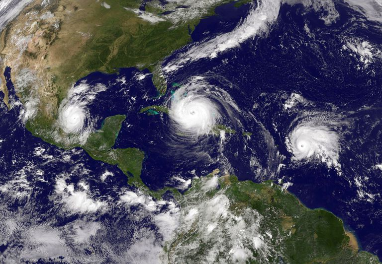 Hurricane Irma (C) in the Caribbean Sea, Tropical Storm Jose (R) in the Atlantic Ocean and Tropical Storm Katia in the Gulf of Mexico