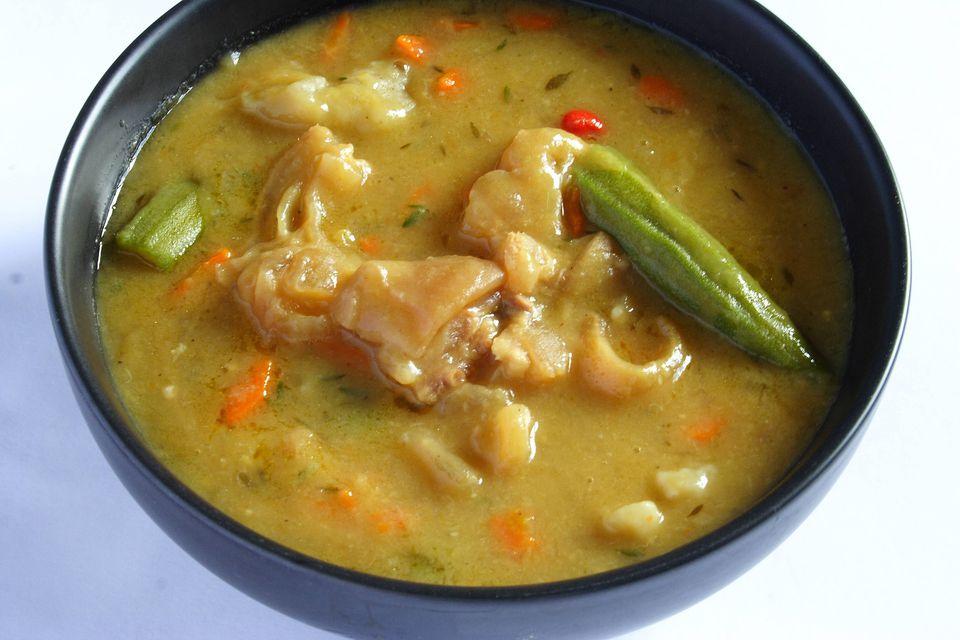A bowl of cowheel soup