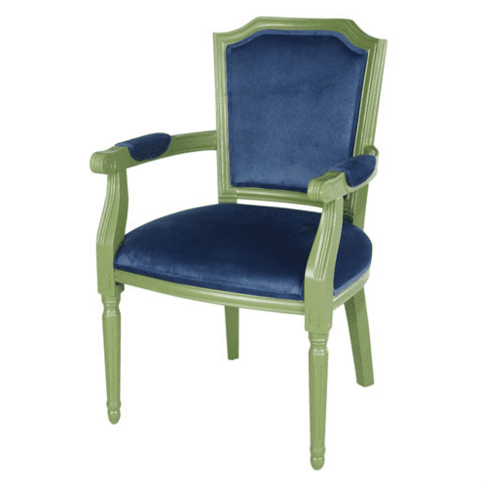 the big green arm chair An arm chair is a comfortably upholstered living room chair that has built in supports, or arms, on the sides that you can rest your arms on an extremely common piece of living room furniture, arm chairs are great additions to an existing seating arrangement that can complement your sofa or loveseat.