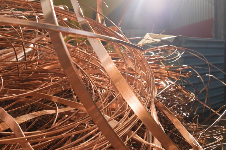 Copper in a scrap metal recycling plant