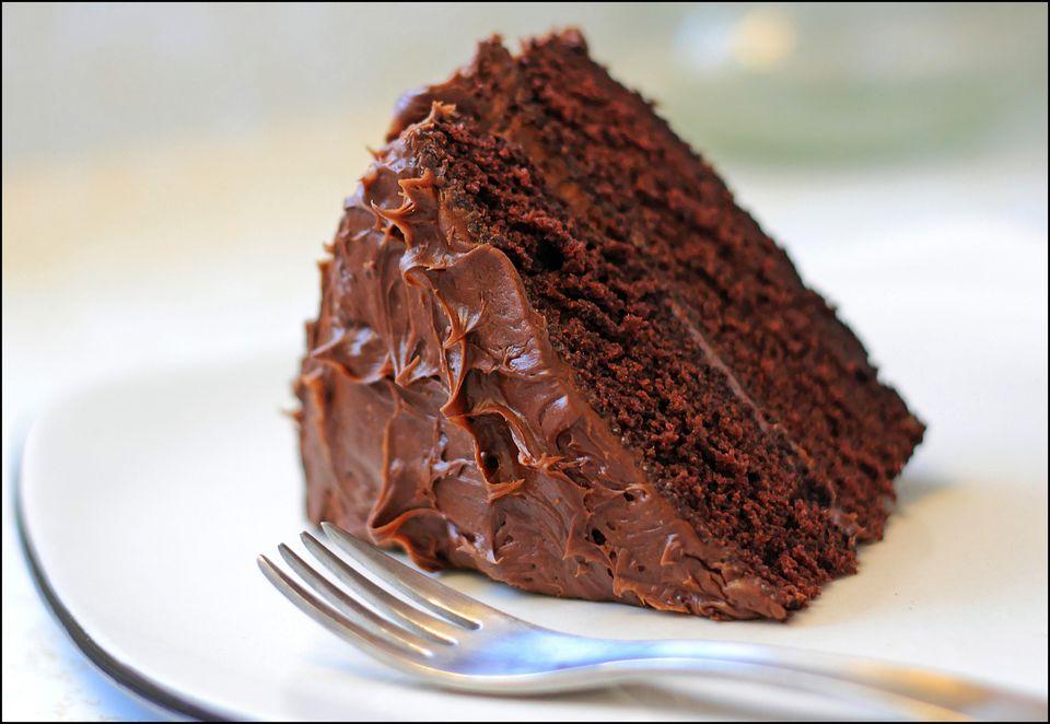 Chocolate cake on plate