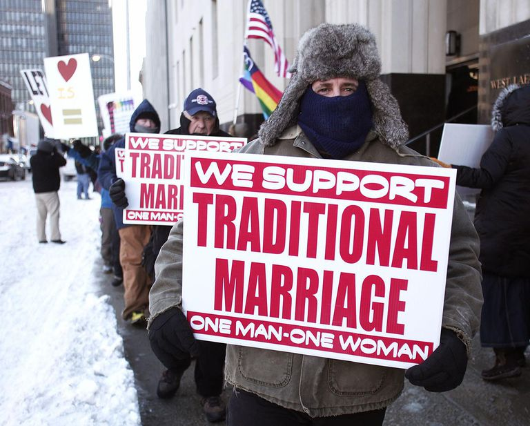 Protesters Demonstrate Outside Detroit Debating State's Gay Marriage Case