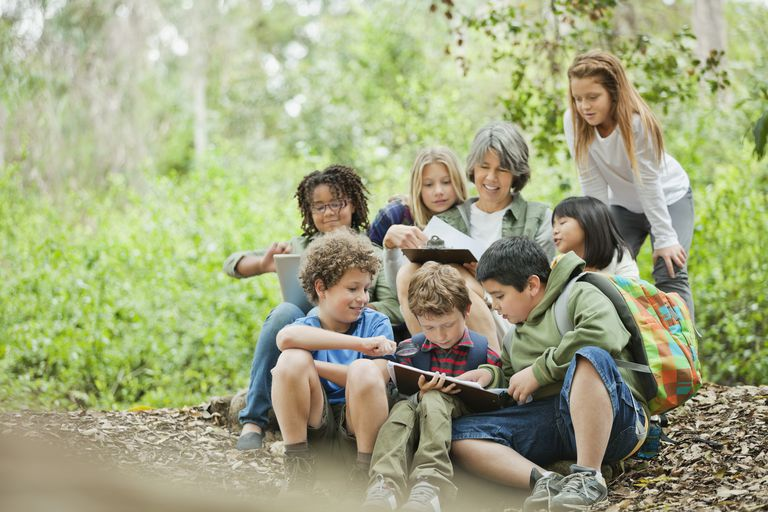 Group of students studying together with teacher at park