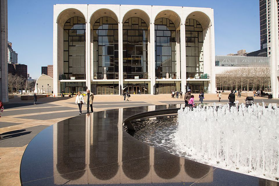 Lincoln Center with reflection and fountain in NYC
