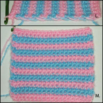 Close-Up Photos of the Striped Crochet Fabric Swatch.