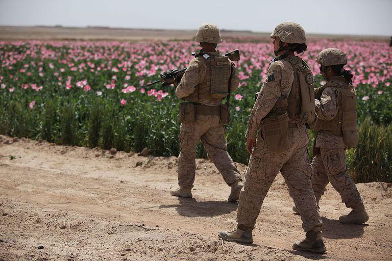 Women Marines walking