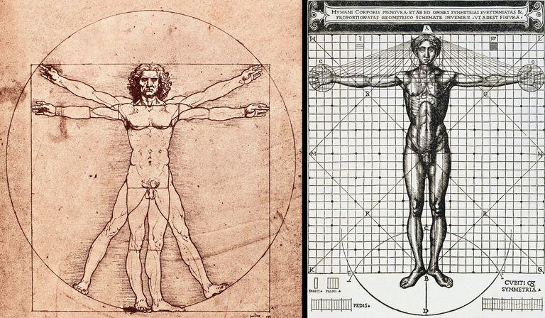 Vitruvian Man drawing by Leonardo Da Vinci (left) and Cesare Cesariano (right)