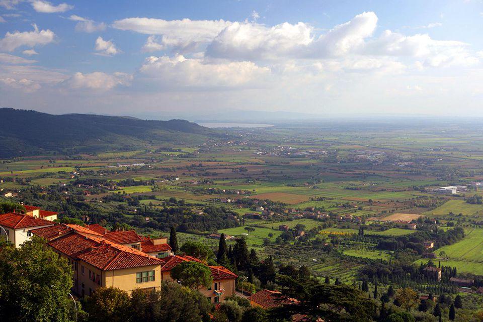Italy, Tuscany, Cortona, elevated view