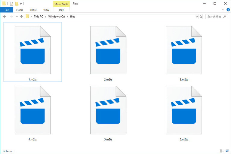 Screenshot of several M2TS files in Windows 10