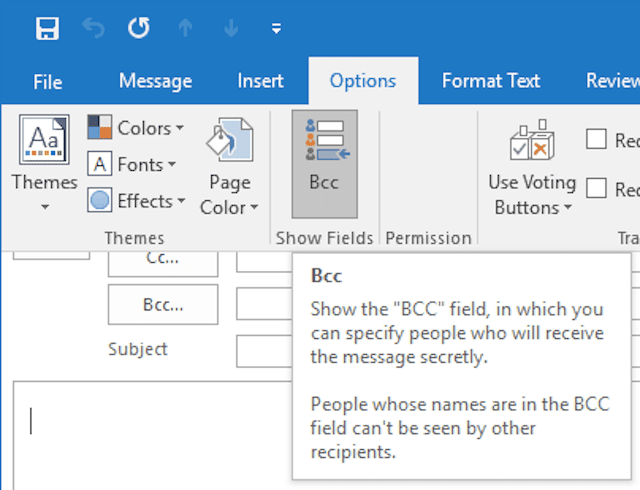 "Make sure ""Bcc"" is selected to add Bcc recipients in Outlook"