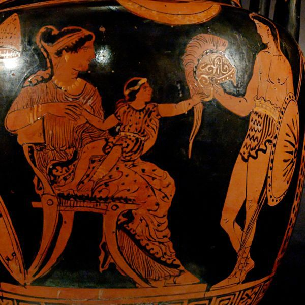 Hector Visits Andromache With Astyanax on Her Lap. Apulian Red-figure Column-krater. c. 370-360 B.C.