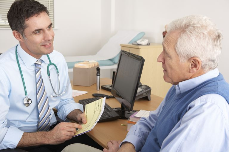 Senior man talking with his doctor