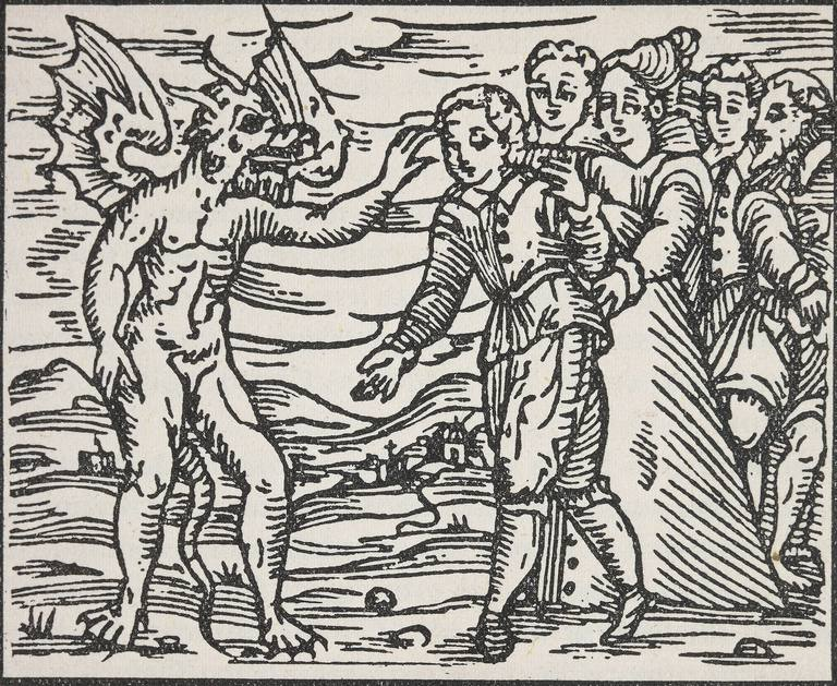 Devil making sign, engraving from Compendium Maleficarum, by Francesco Maria Guazzo, 1626, Italy