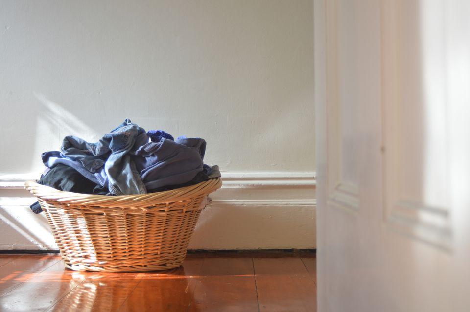 Basket of blue laundry