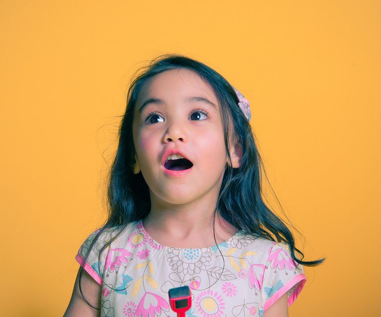 young girl talking