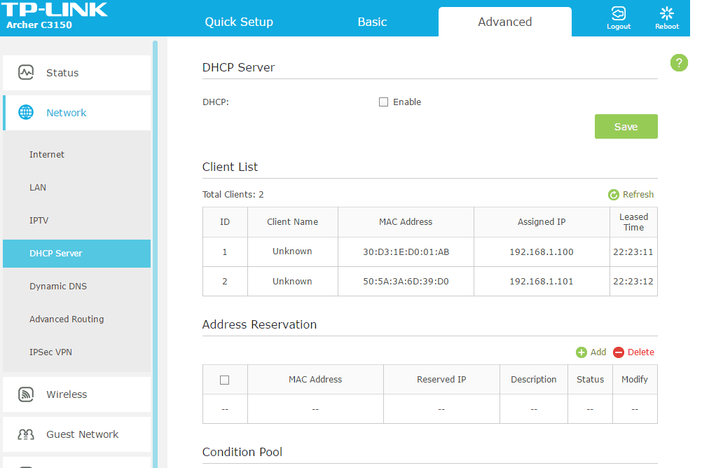 Screenshot of the DHCP server settings on a TP-Link Archer C3150