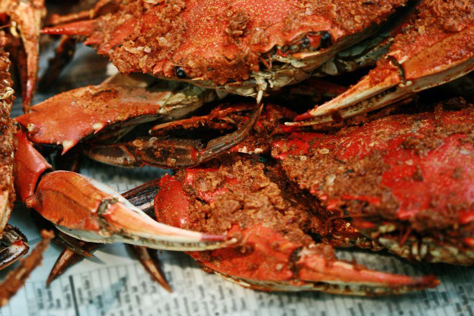 Steam blue crabs