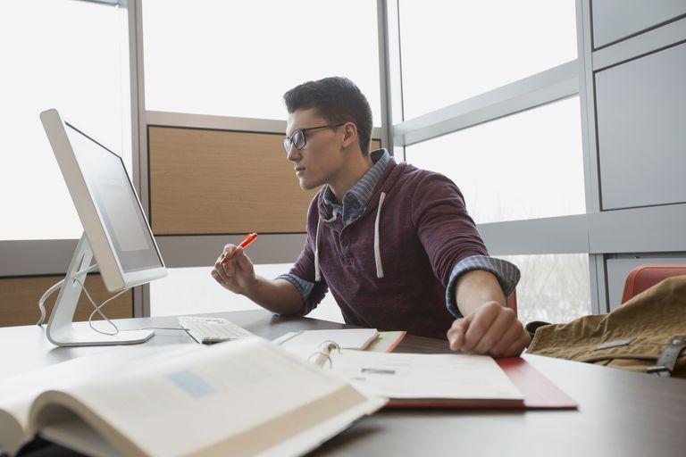Man studying at computer
