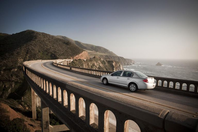 Car crossing Bixby bridge, Big Sur.