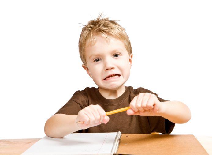 Angry kindergarten boy