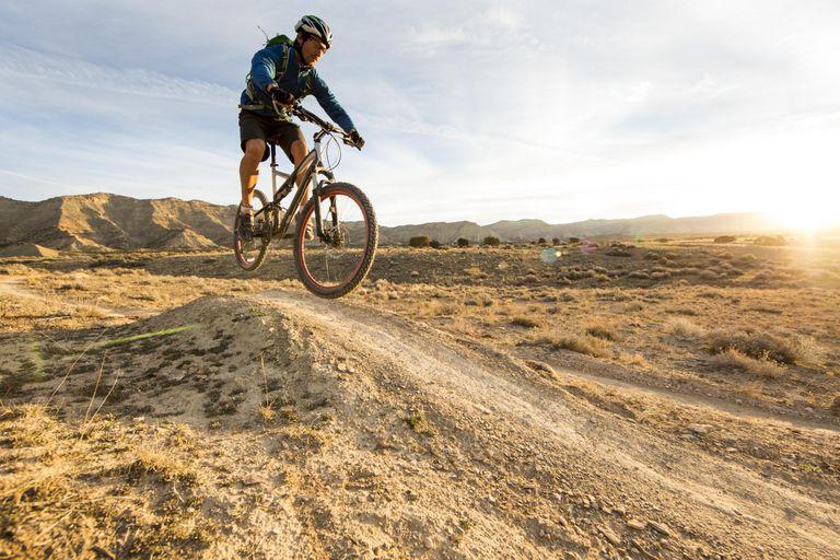 Biking a scenic trail. Mountain biking