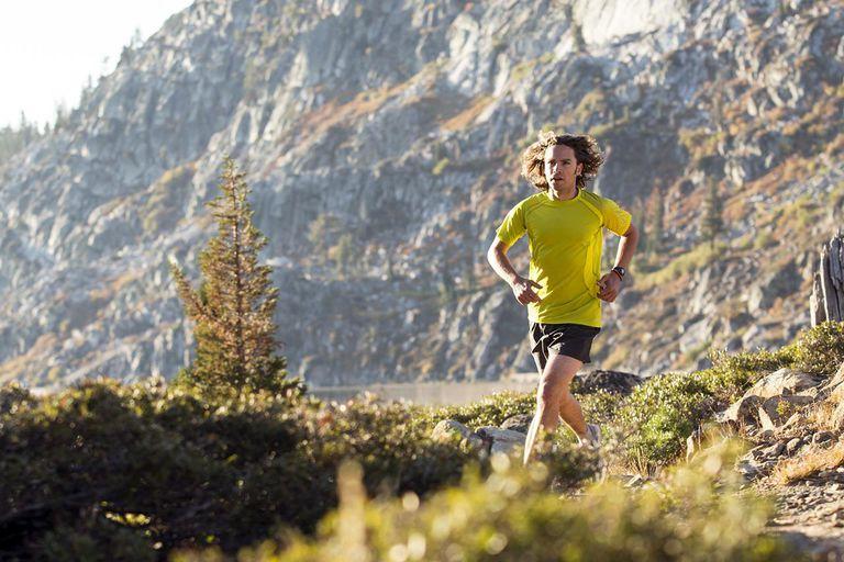 Men trail running at Donner Pass.