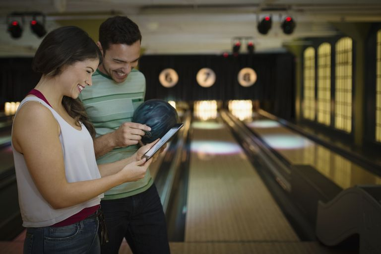 Couple bowling.
