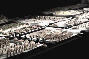 Salmon, meat and bruschetta buffet selection