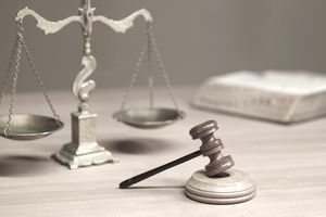 A judge's desk and gavel