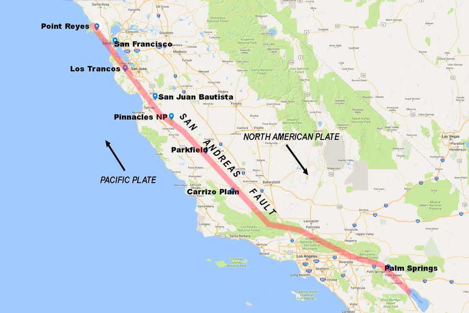 San Andreas Fault In California Pictorial Visitor Guide - San andreas fault map with cities